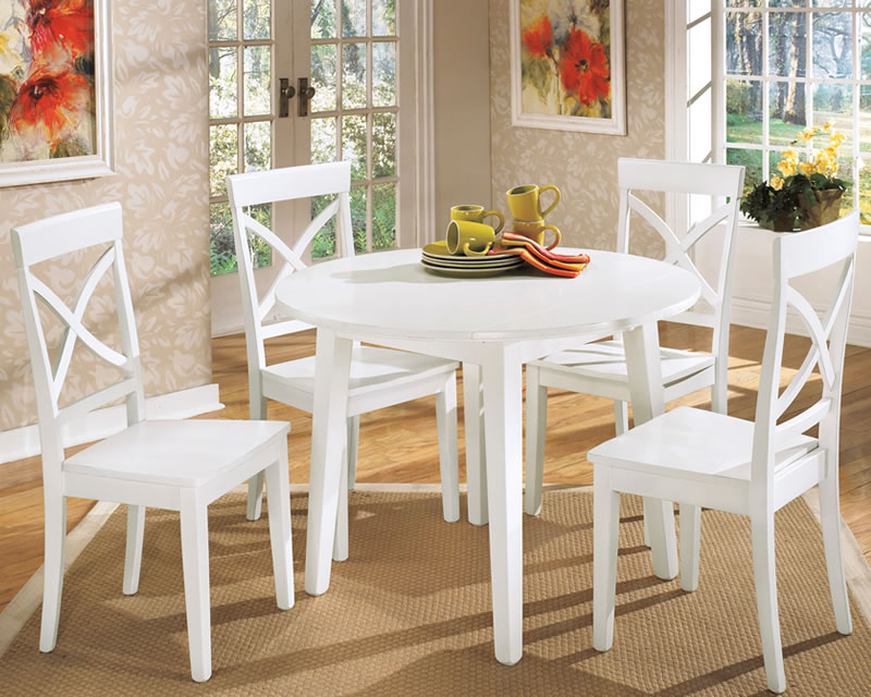 Kitchen Tables Sets. Captivating White Round Dining Table Set