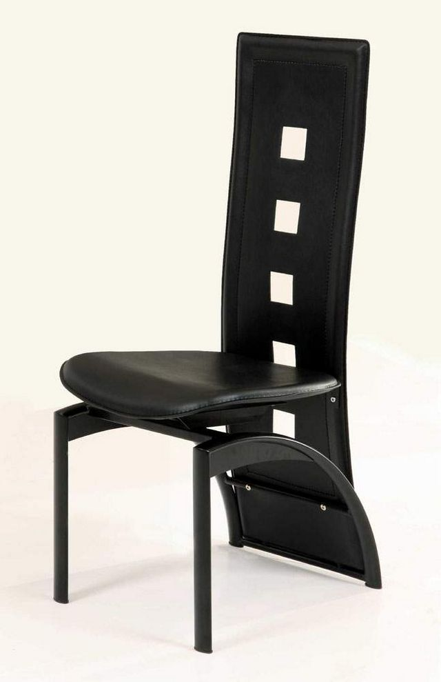 Black leather kitchen chairs Photo - 3