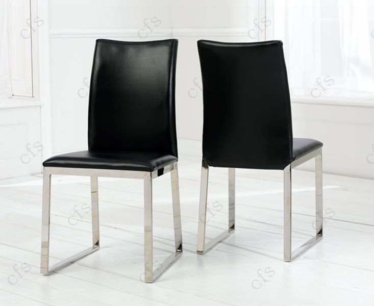 Black leather kitchen chairs Photo - 7