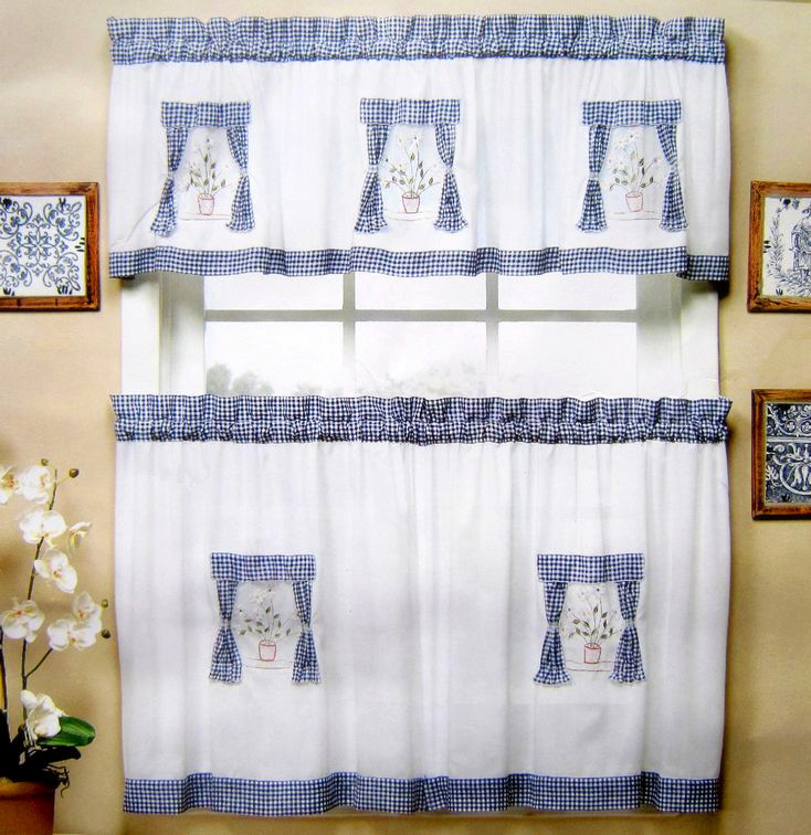 Blue And White Kitchen Curtains Photo 11