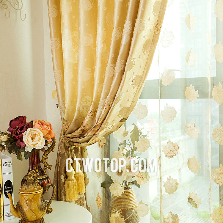 Blue and yellow kitchen curtains Photo - 11