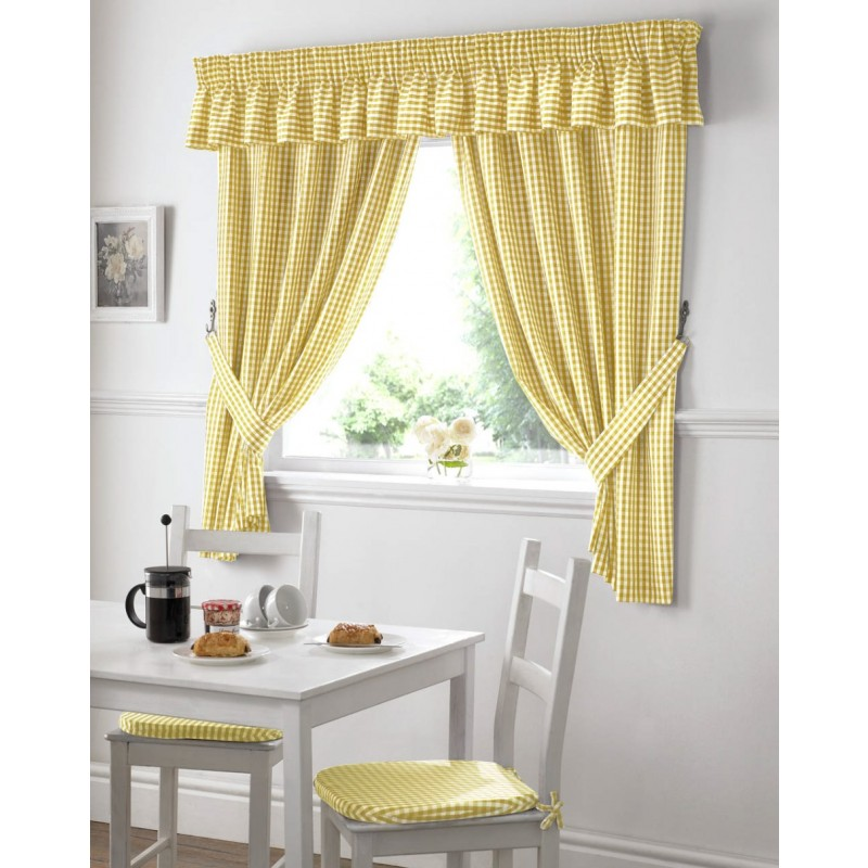 Blue and yellow kitchen curtains Photo - 8
