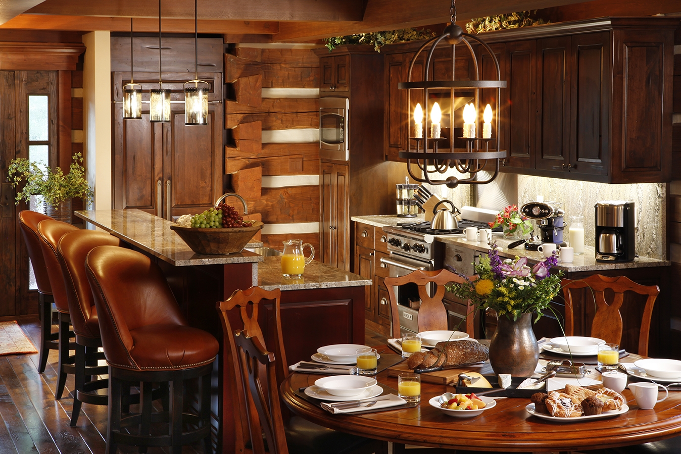 Brown leather kitchen chairs Photo - 7