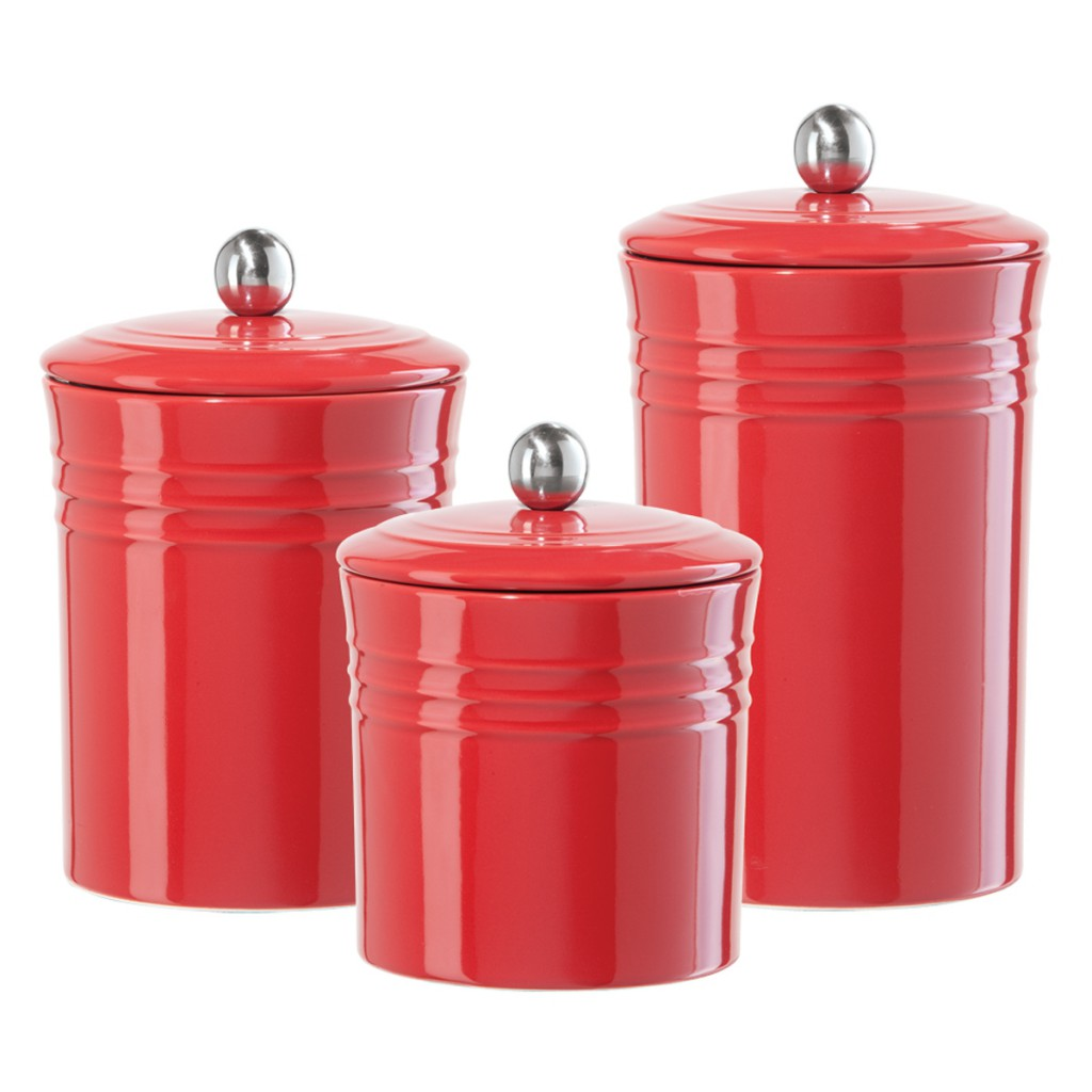 this 3piece canister set was crafted of embossed earthenware and