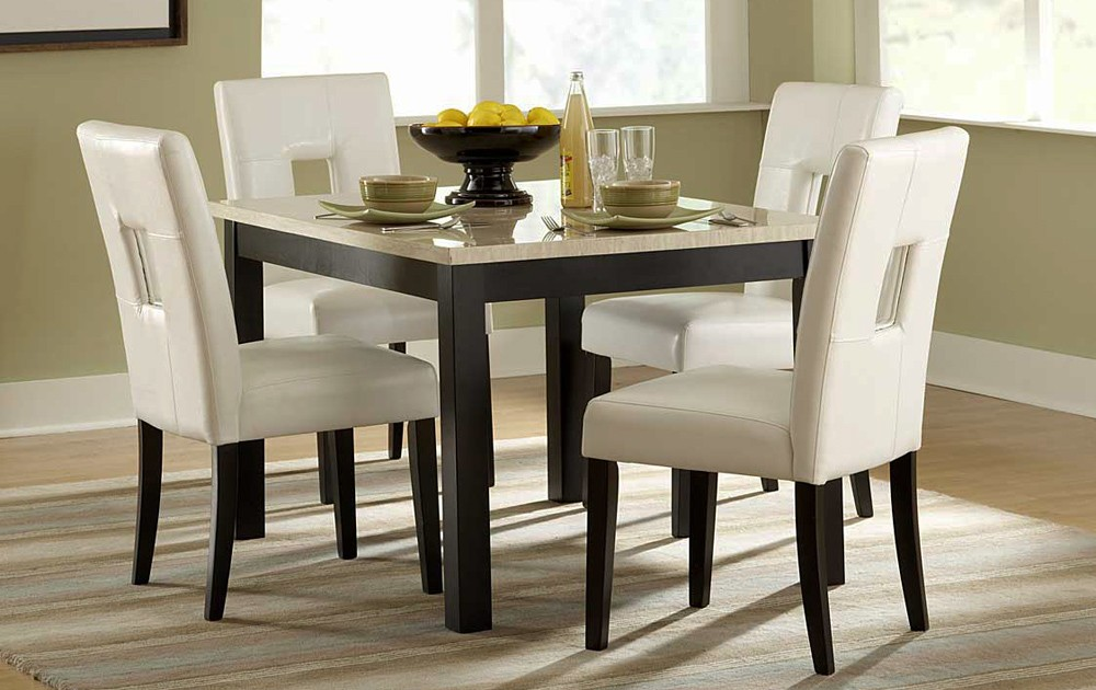 Faux Marble Kitchen Table Set Silver Hamlyn  Piece Round For