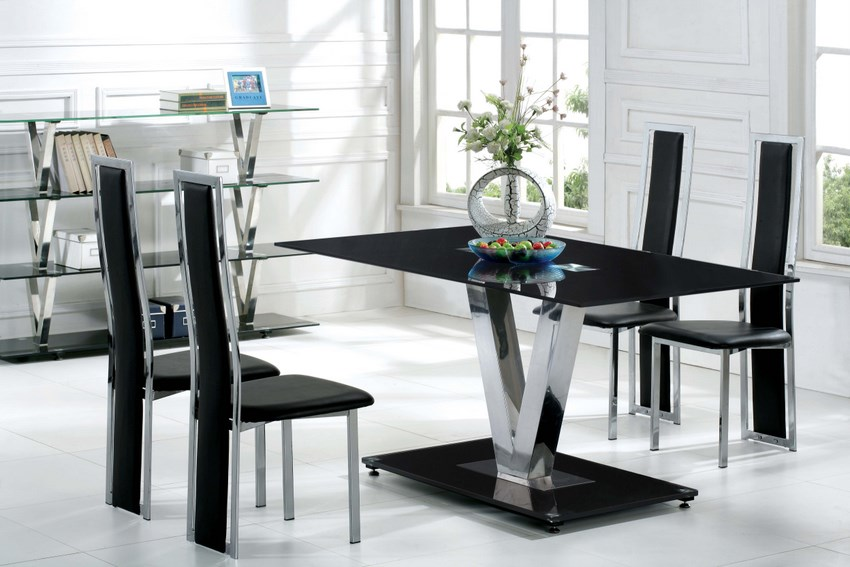 glass kitchen tables and chairs photo 3 modern rustic dining table - Black Kitchen Tables