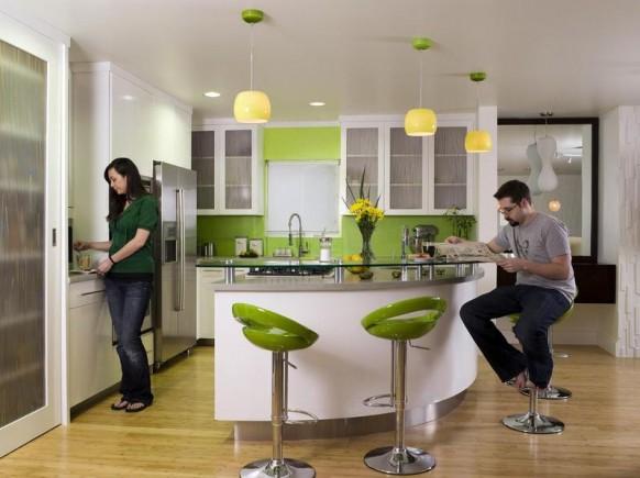 Green kitchen chairs Photo - 2