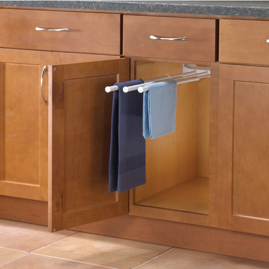Kitchen cabinet towel rack photo 1 kitchen ideas for Bathroom counter towel holder