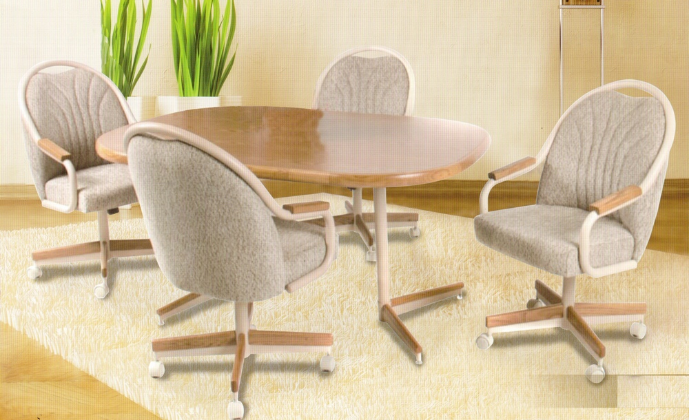 Kitchen dinette sets with casters kitchen ideas for Dining room table with swivel chairs