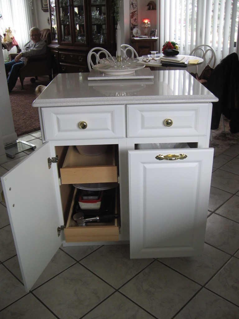 Kitchen Island With Trash Bin Photo - 2