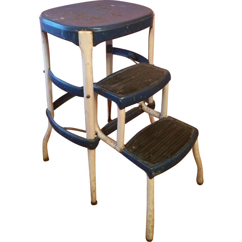 Black Public kitchen step stools with seat white brown