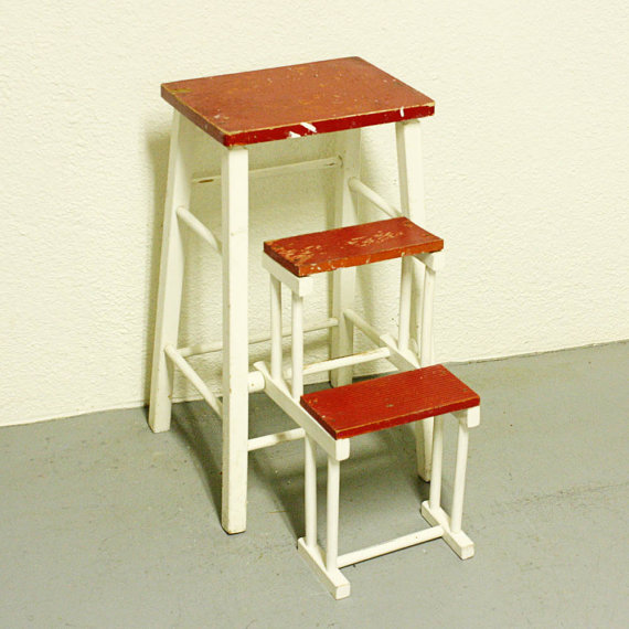 Kitchen step stool with seat Photo - 8