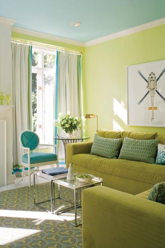 Modern Living Room Decor With Blue Walls Photos - Wall Art Design ...