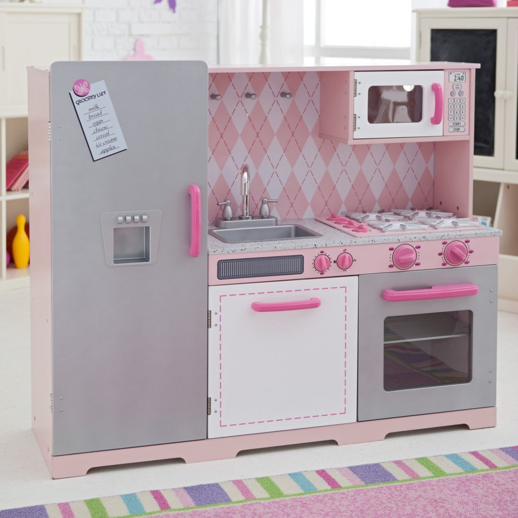 Pink kids kitchen kitchen ideas for Toddler kitchen set