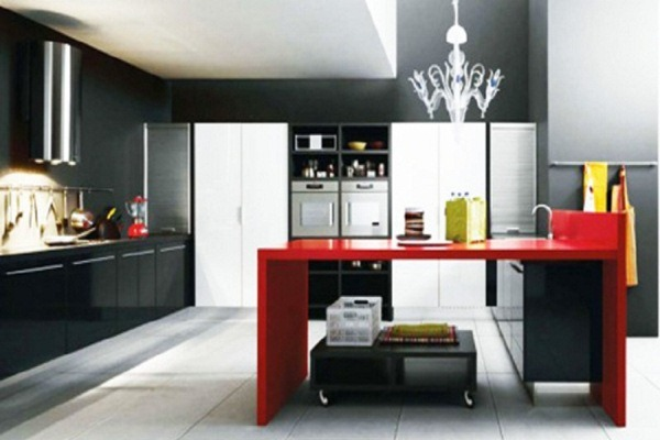 Red and black kitchen accessories kitchen ideas for Red white and black kitchen designs