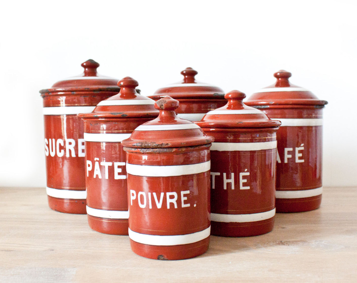 Red kitchen canister sets Photo - 11