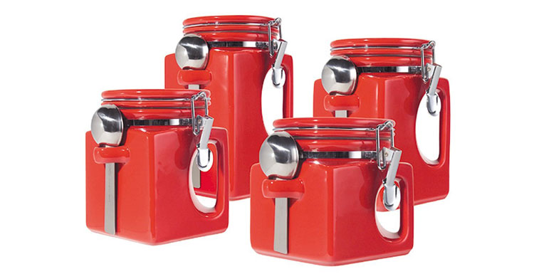 Red kitchen canister sets Photo - 3