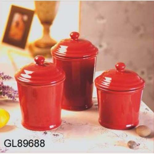 Red kitchen canister sets Photo - 8