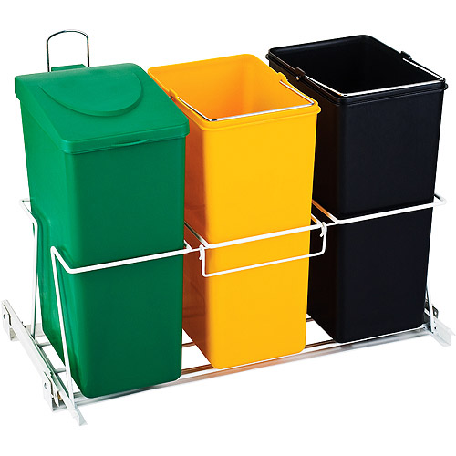 Decorated Wood Kitchen Garbage Cans