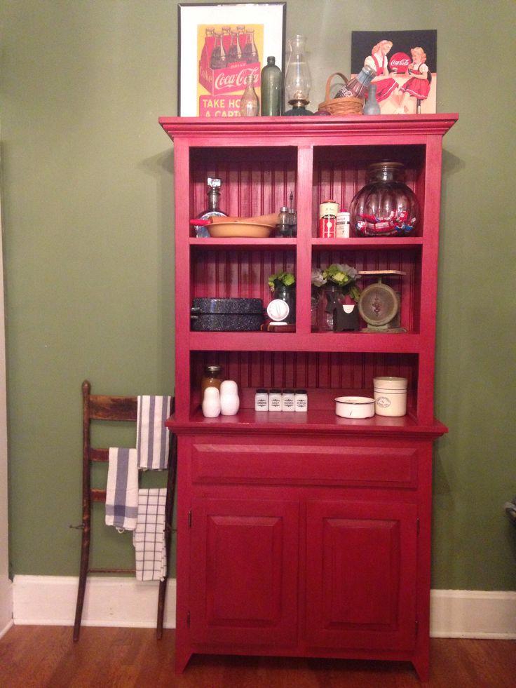 red kitchen hutch