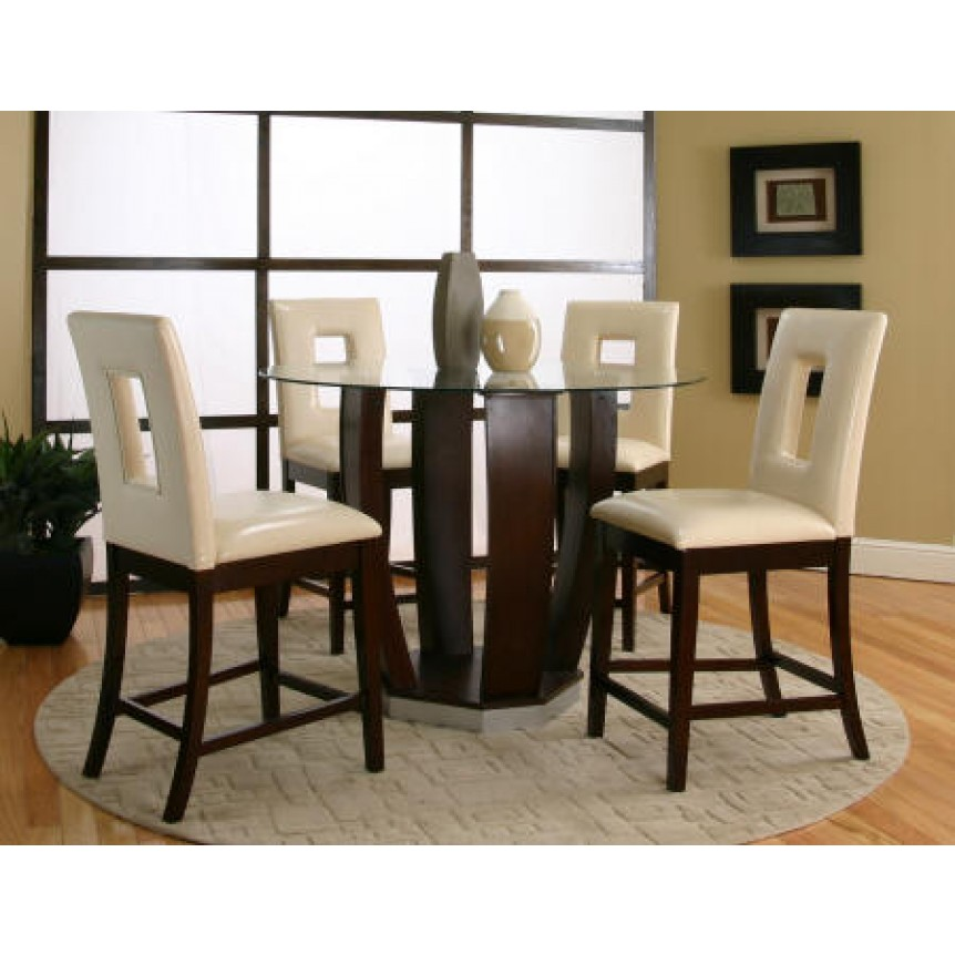 Small round pub table stunning bar height table for Round kitchen tables for small spaces