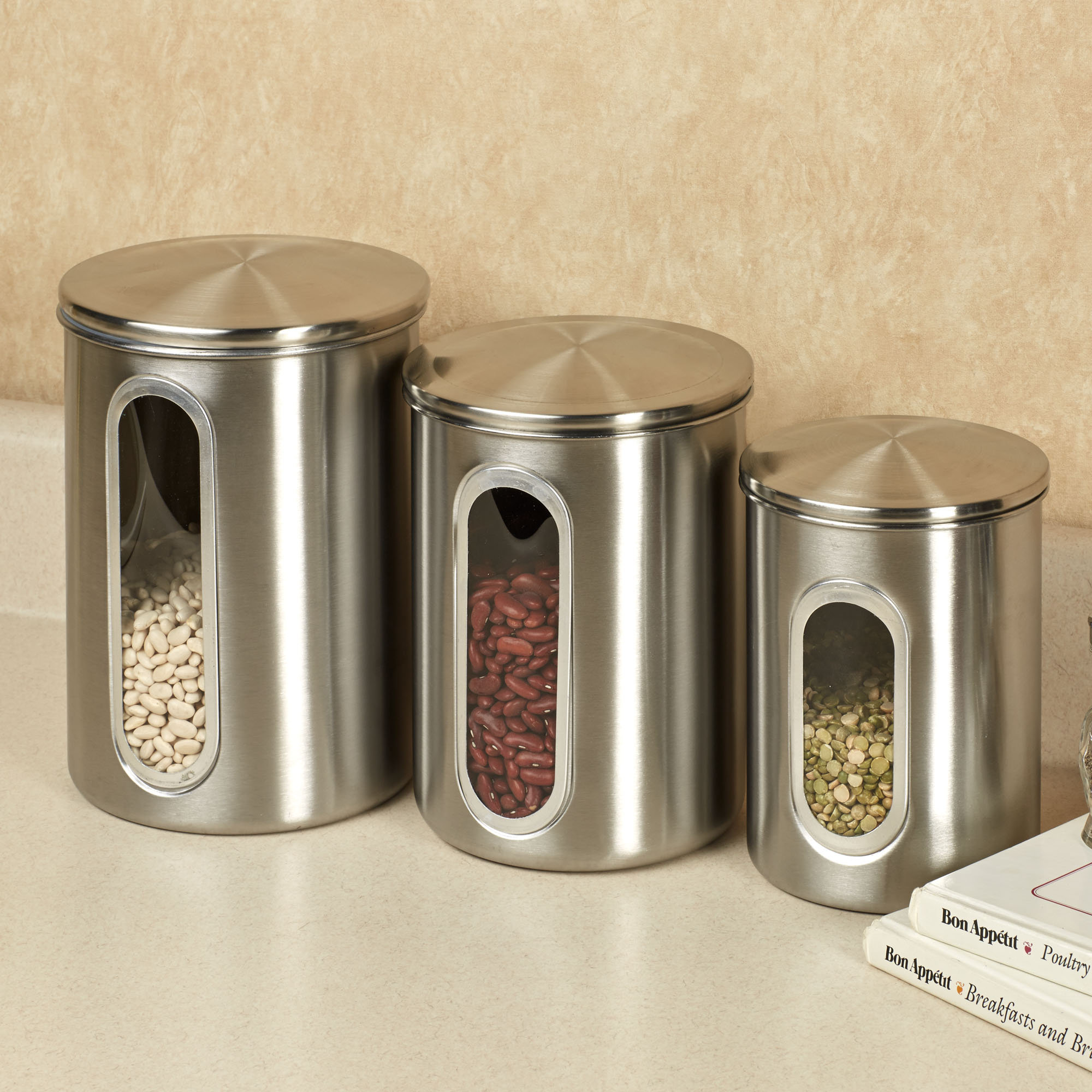 Stainless steel kitchen canisters sets brushed stainless for Kitchen set 2015