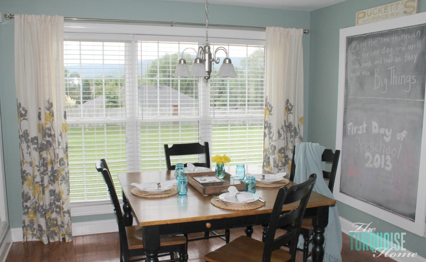 Turquoise kitchen curtains Photo - 6