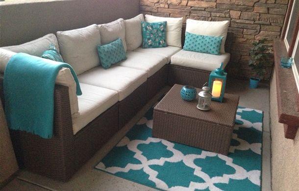 Turquoise kitchen rug Photo - 12