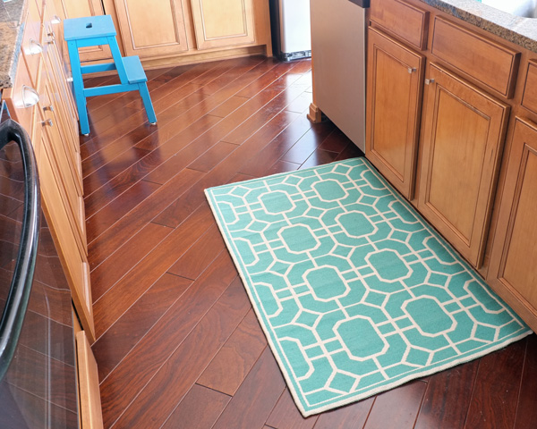 Turquoise kitchen rug Photo - 1