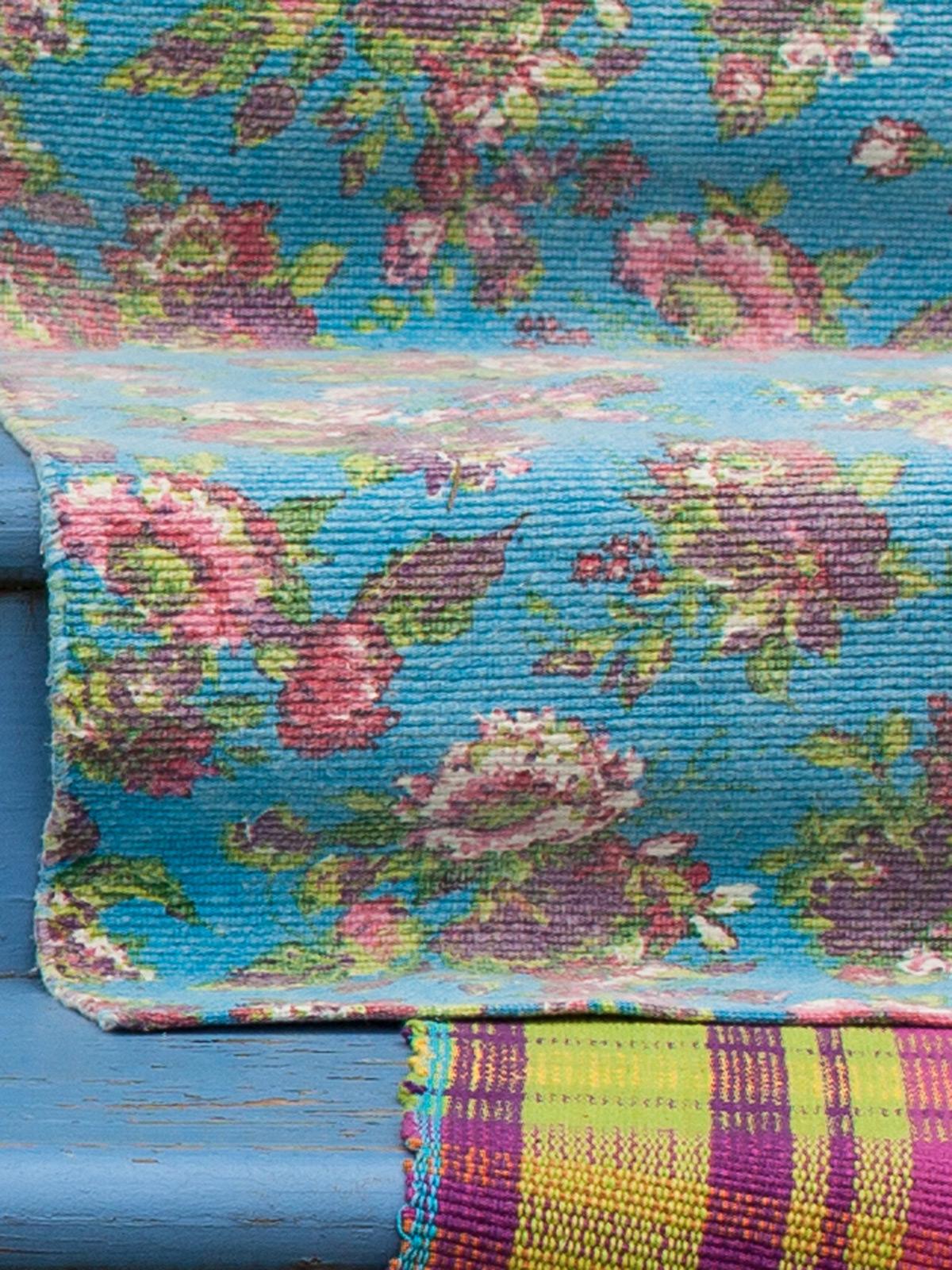 Turquoise kitchen rug Photo - 3