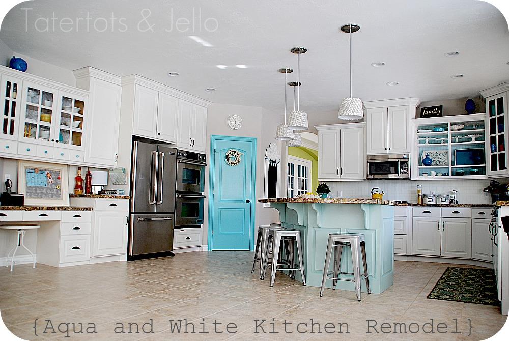 White Kitchen Aqua Accents utility cabinets for kitchen | kitchen ideas