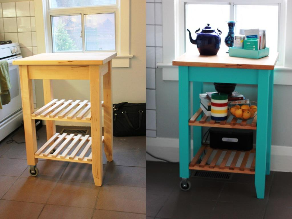 Ikea kitchen cart painted -  White Kitchen Cart Island Photo 3