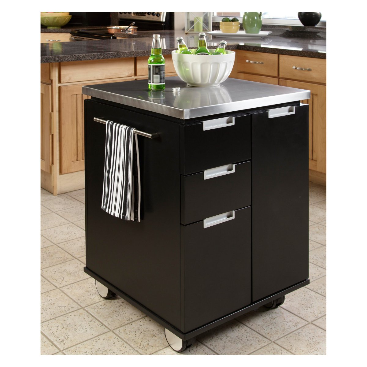 White kitchen cart with stainless steel top Photo - 1