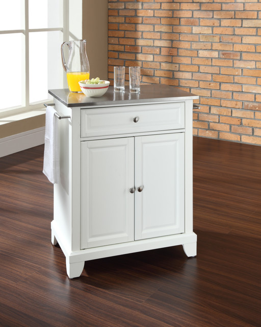 White kitchen cart with stainless steel top Photo - 8