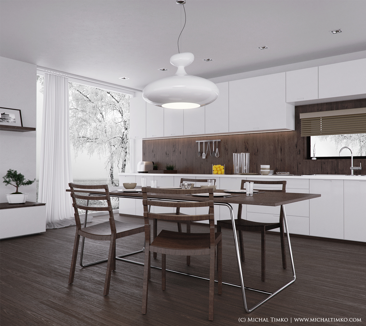 White wood kitchen chairs Photo - 4