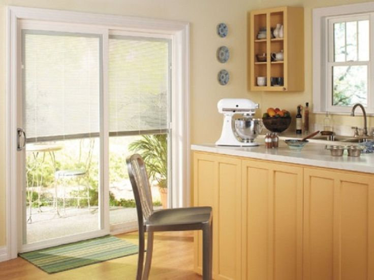 Window treatments for sliding glass doors in kitchen photo for Sliding glass doors kitchen