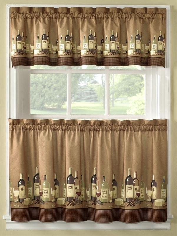 Wine themed kitchen curtains Photo - 1