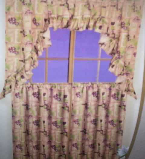 Wine themed kitchen curtains Photo - 12