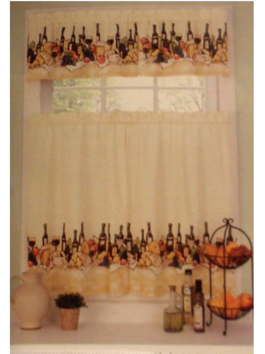 Wine themed kitchen curtains Photo - 4