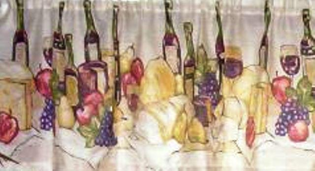 Wine themed kitchen curtains Photo - 5