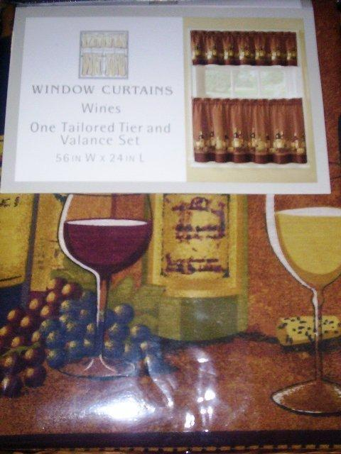 Wine themed kitchen curtains Photo - 6