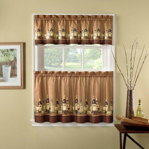 Wine themed kitchen curtains Photo - 7