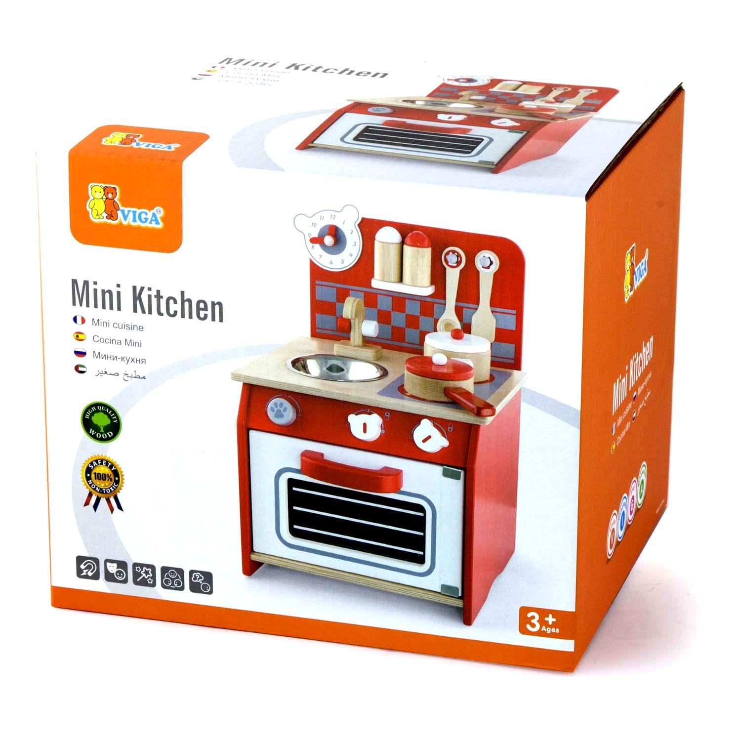 Wooden childrens kitchen set captivating image wood for Small kitchen set for kids