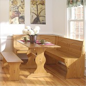 Wooden kitchen table with bench Photo - 1