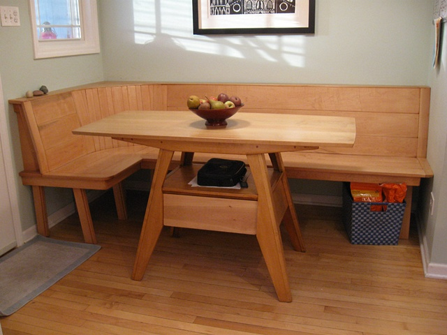 Wooden kitchen table with bench Photo - 10