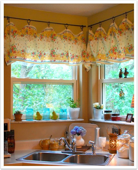 Blue And Yellow Curtains Prints Red Kitchen Curtains