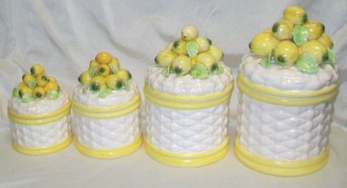 Yellow kitchen canister set Photo - 1