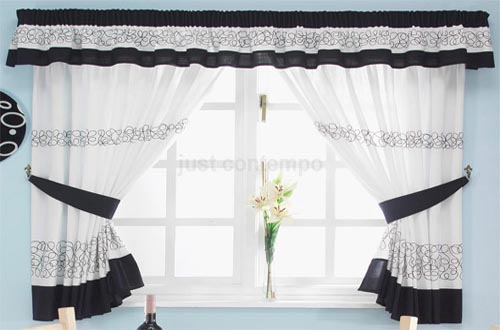 Black and white kitchen curtains photo - 1