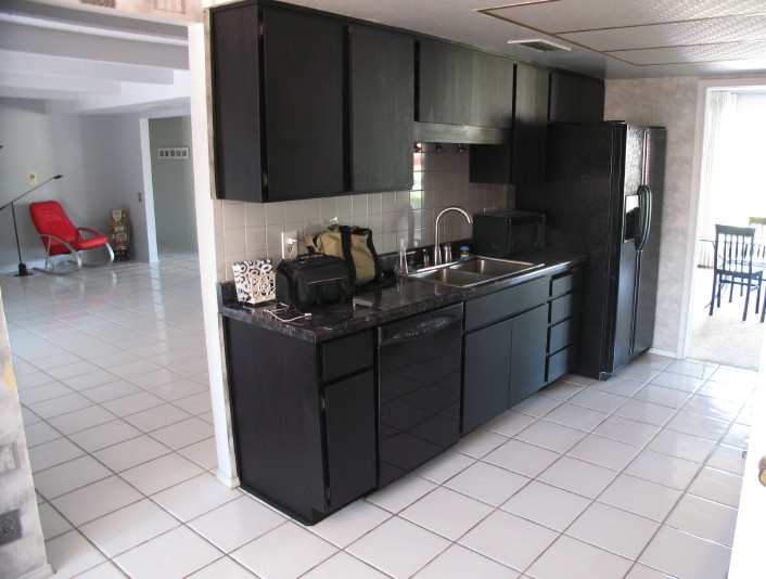 Black Appliances In Kitchen Kitchen Ideas - Grey kitchen cabinets with black appliances