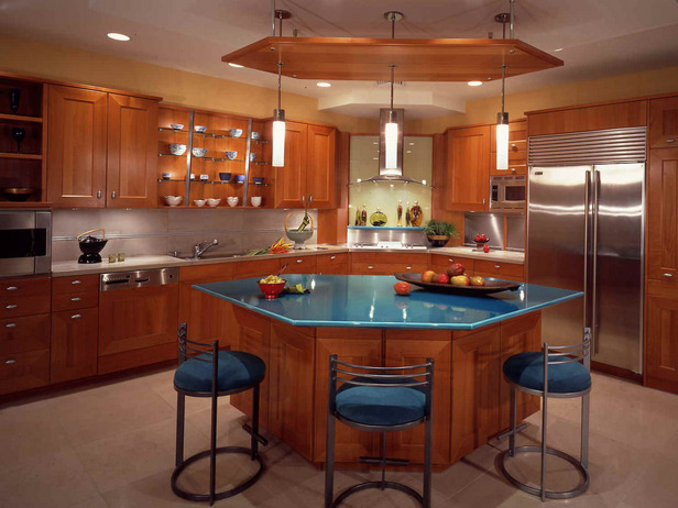 Black kitchen island with seating photo - 2